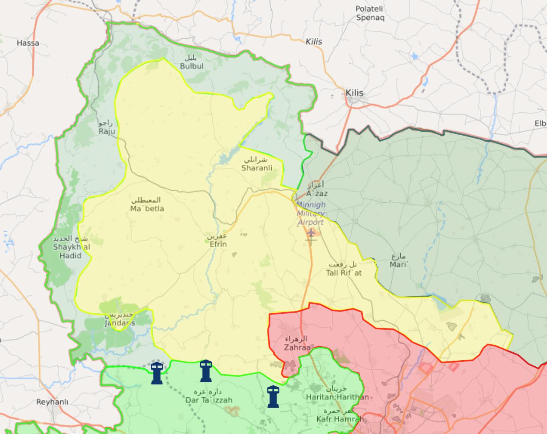 خريطة السيطرة في منطقة عفرين شمالي حلب - 5 آذار 2018 (عنب بلدي)