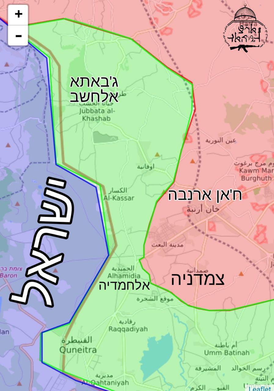 خريطة نشرتها وسائل إعلام إسرائيلية - 5 من نيسان 2018