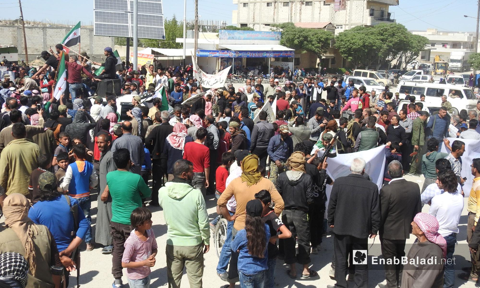 مظاهرات جابت جرابلس تطالب بالتحرك نحو شرق الفرات - 6 من نيسان 2018 (عنب بلدي)